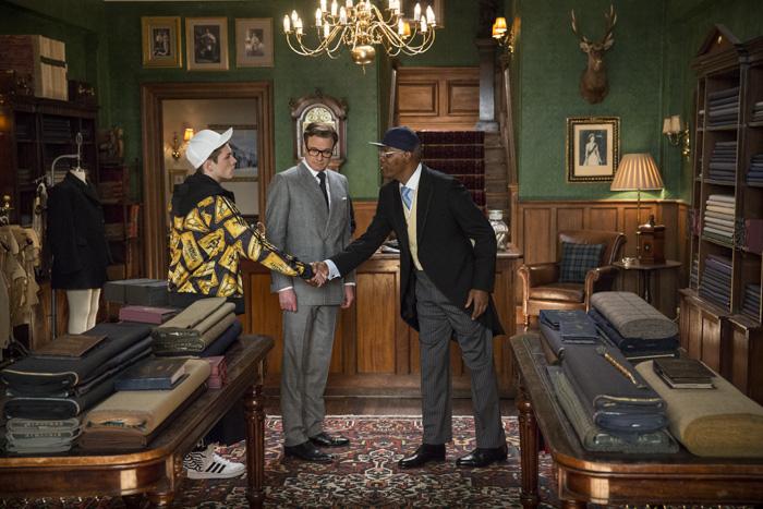 Kingsman: Секретная служба.  На фото:   Колин Фёрт  ,   Сэмьюэл Л. Джексон
